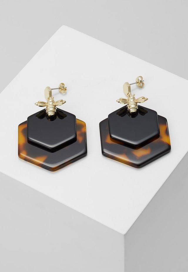 HONZZA BUMBLEBEE HONEY EARRING - Boucles d'oreilles - light gold-coloured/tortoiseshell/black
