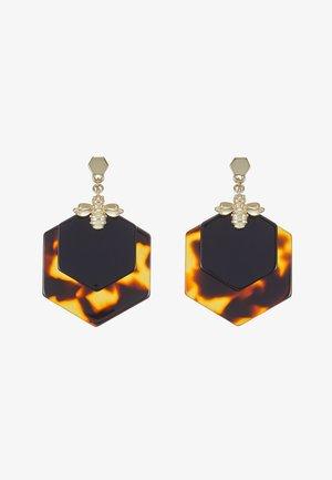 HONZZA BUMBLEBEE HONEY EARRING - Øreringe - light gold-coloured/tortoiseshell/black