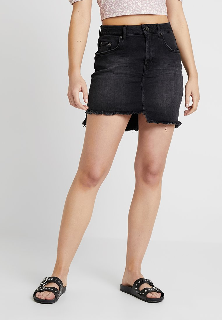 One Teaspoon - HIGH WAIST SKIRT - Denimová sukně - black swan