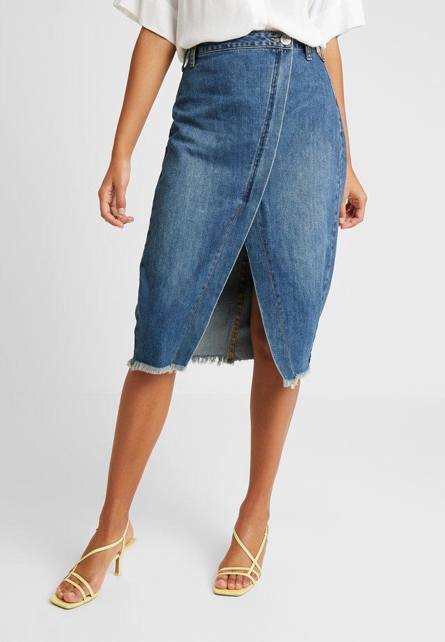 SOCIETY SKIRT - Zavinovací sukně - dirty indigo