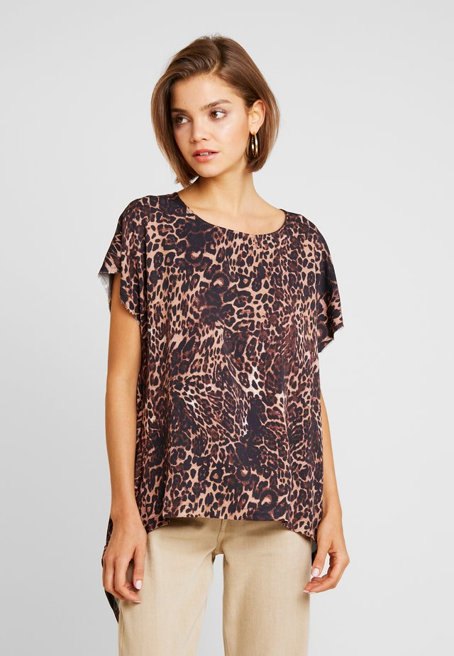 BIG CAT SPLIT BACK TOP - Blouse - beige/brown