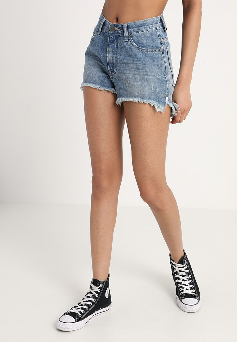 One Teaspoon - HIGH WAIST BONITA - Jeans Shorts - blue society