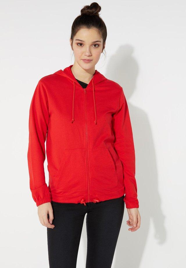 MIT REISSVERSCHLUSS UND TUNNELZUG - Zip-up hoodie - red lipstick