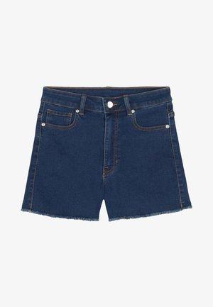 JEANSSHORTS MIT HOHEM BUND - Denim shorts - dark blue jeans