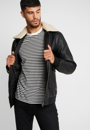 FLYER - Faux leather jacket - black
