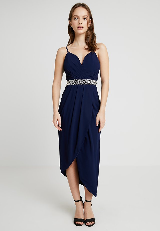 HULA MIDI WRAP DRESS - Robe de cocktail - navy