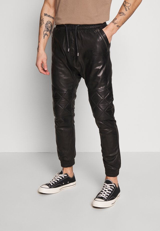 ELRIC - Leather trousers - black