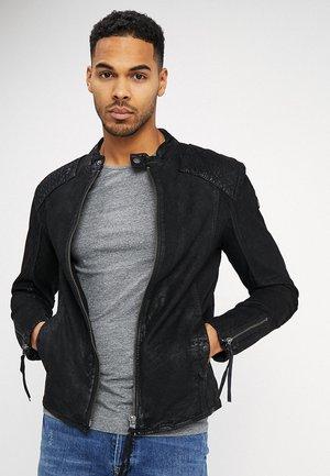 BUFFED - Veste en cuir - black