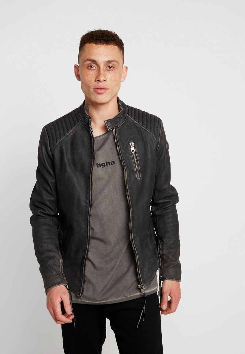 Tigha - HOLGER - Veste en cuir - black