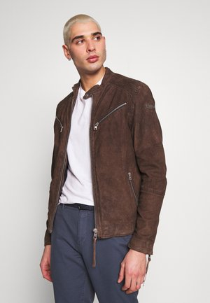 FRIED BUFFED - Leather jacket - dark mud