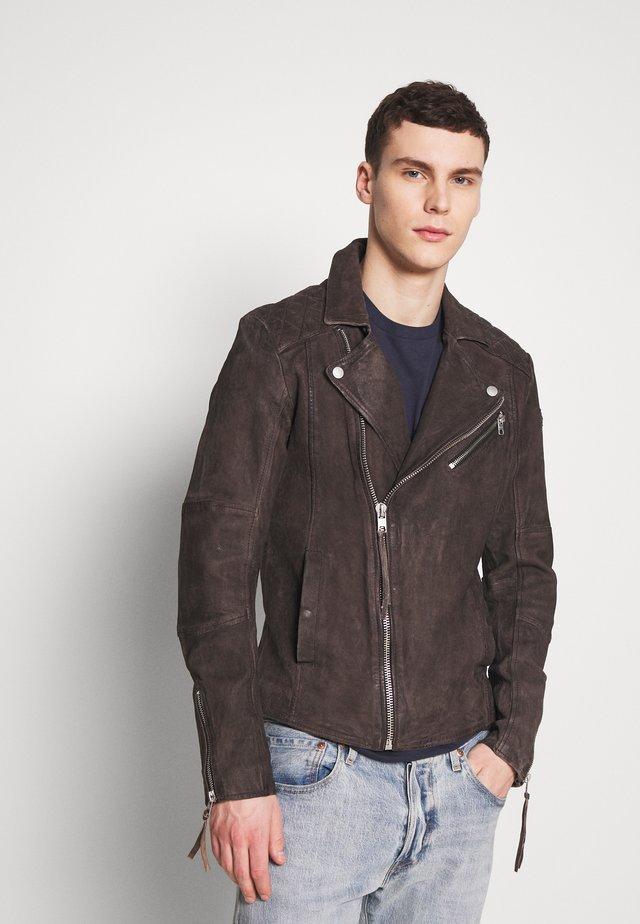NICK - Kožená bunda - mud