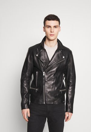 YOUNES - Leather jacket - black