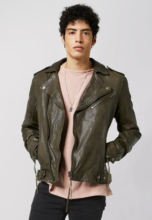 FILIP  - Leather jacket - military green