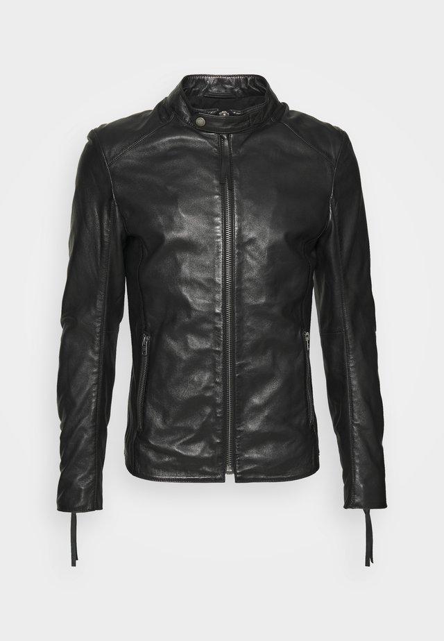 DENZEL - Kožená bunda - black