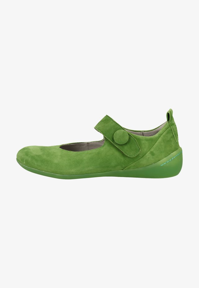 Ankle strap ballet pumps - green