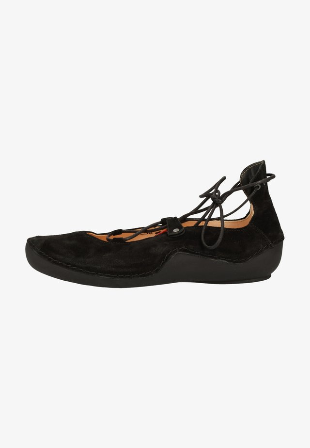 Ankle cuff ballet pumps - black