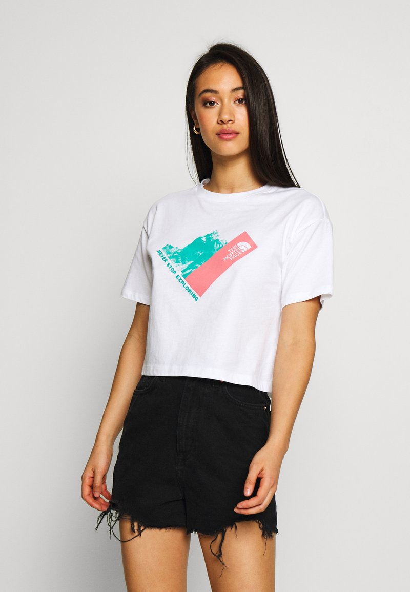 The North Face - MOUNTAIN CROP TEE - T-shirts med print - white/mauveglow/jaiden green