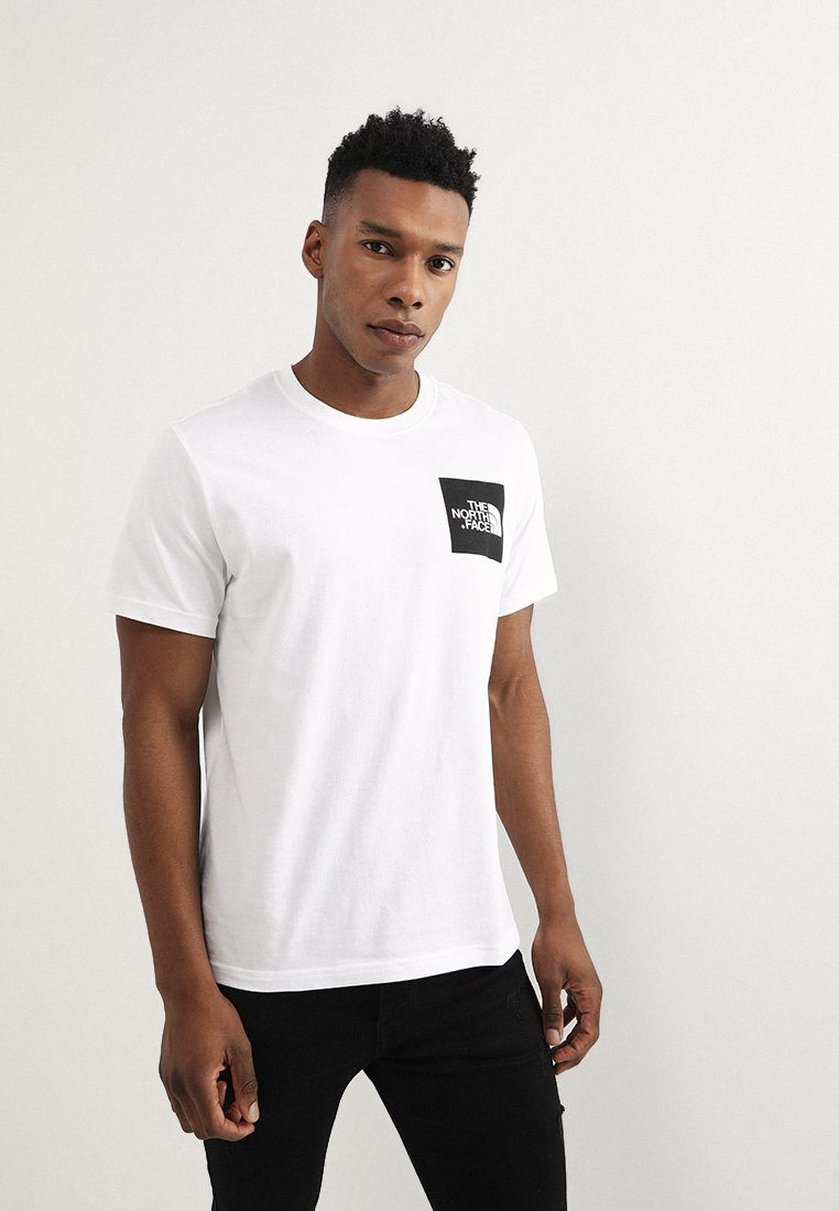 The North Face - FINE TEE - T-shirt z nadrukiem - white/black