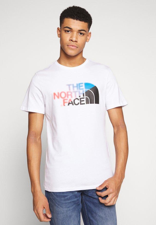T-shirt z nadrukiem - white/clear lake blue