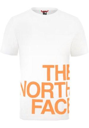 GRAPHIC FLOW - T-shirt z nadrukiem - white/orange