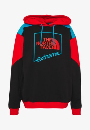 EXTREME HOODIE - Mikina s kapucí - black/fiery red/meridian blue