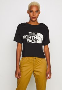 The North Face - WOMENS HALF DOME CROPPED TEE - Print T-shirt - black - 0