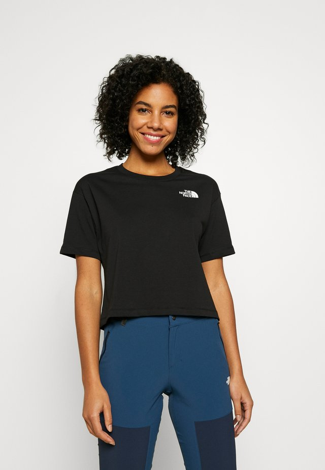 CROPPED SIMPLE DOME TEE - T-shirt z nadrukiem - black