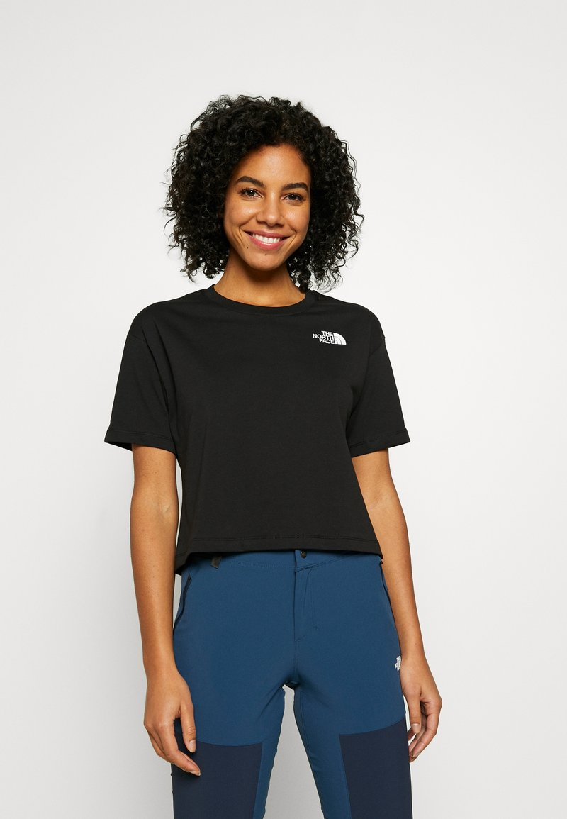 The North Face - CROPPED SIMPLE DOME TEE - T-shirt z nadrukiem - black