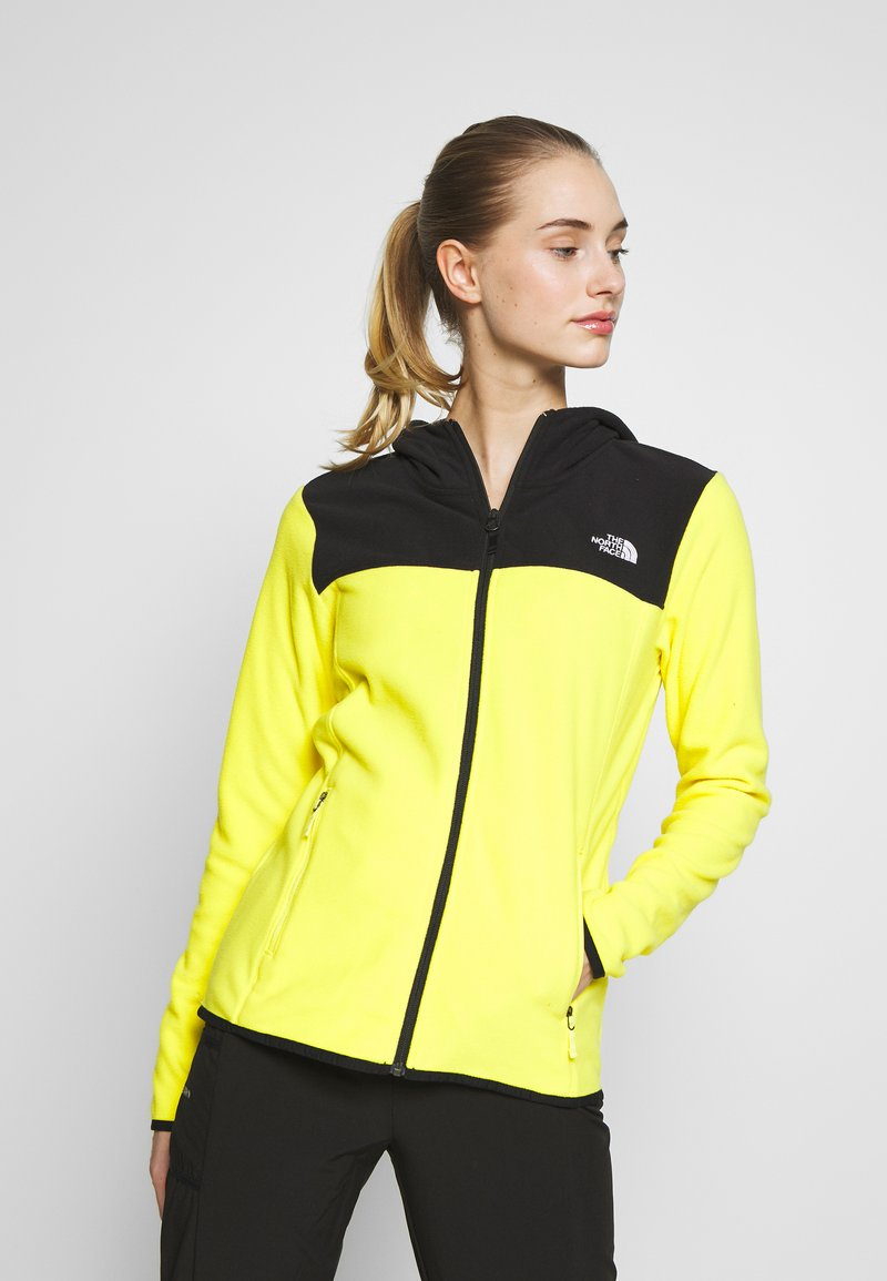 The North Face - WOMENS GLACIER FULL ZIP HOODIE - Fleecetakki - lemon/black