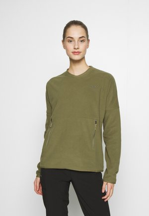 WOMENS GLACIER CREW - Bluza z polaru - burnt olive green