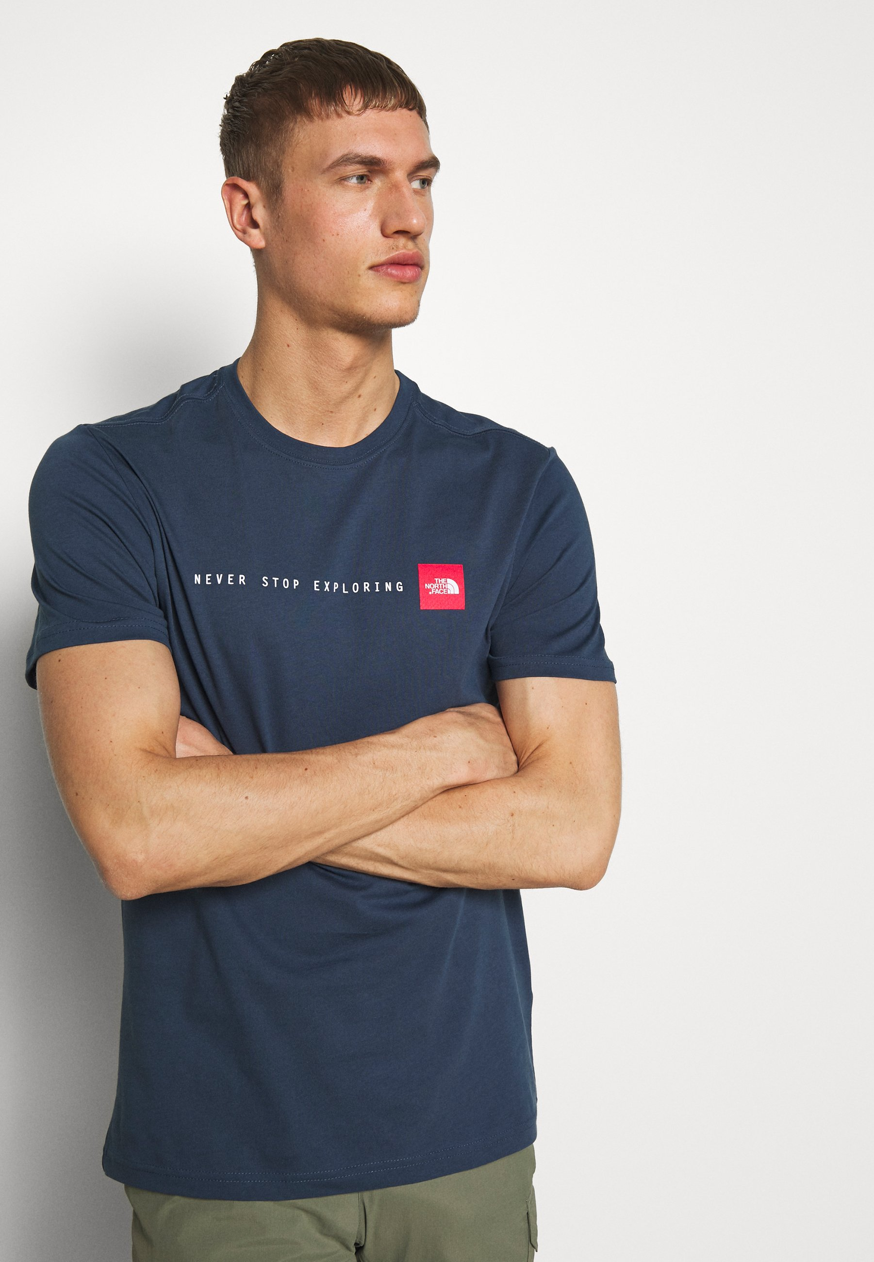 The North Face MENS NEVER STOP EXPLORING TEE - T-shirt imprimé - blue wing teal/red