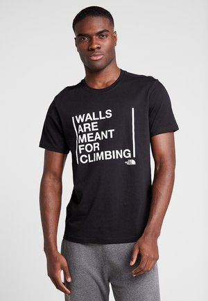WALLS CLIMB TEE - Printtipaita - black