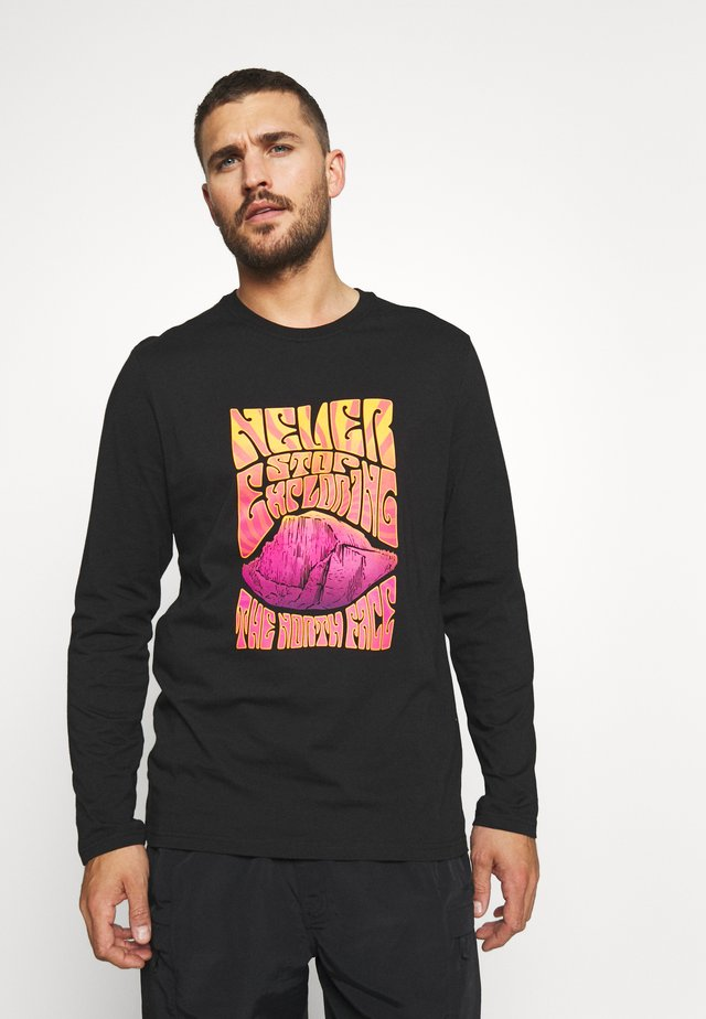 MENS GRAPHIC TEE - Maglietta a manica lunga - black/flame orange