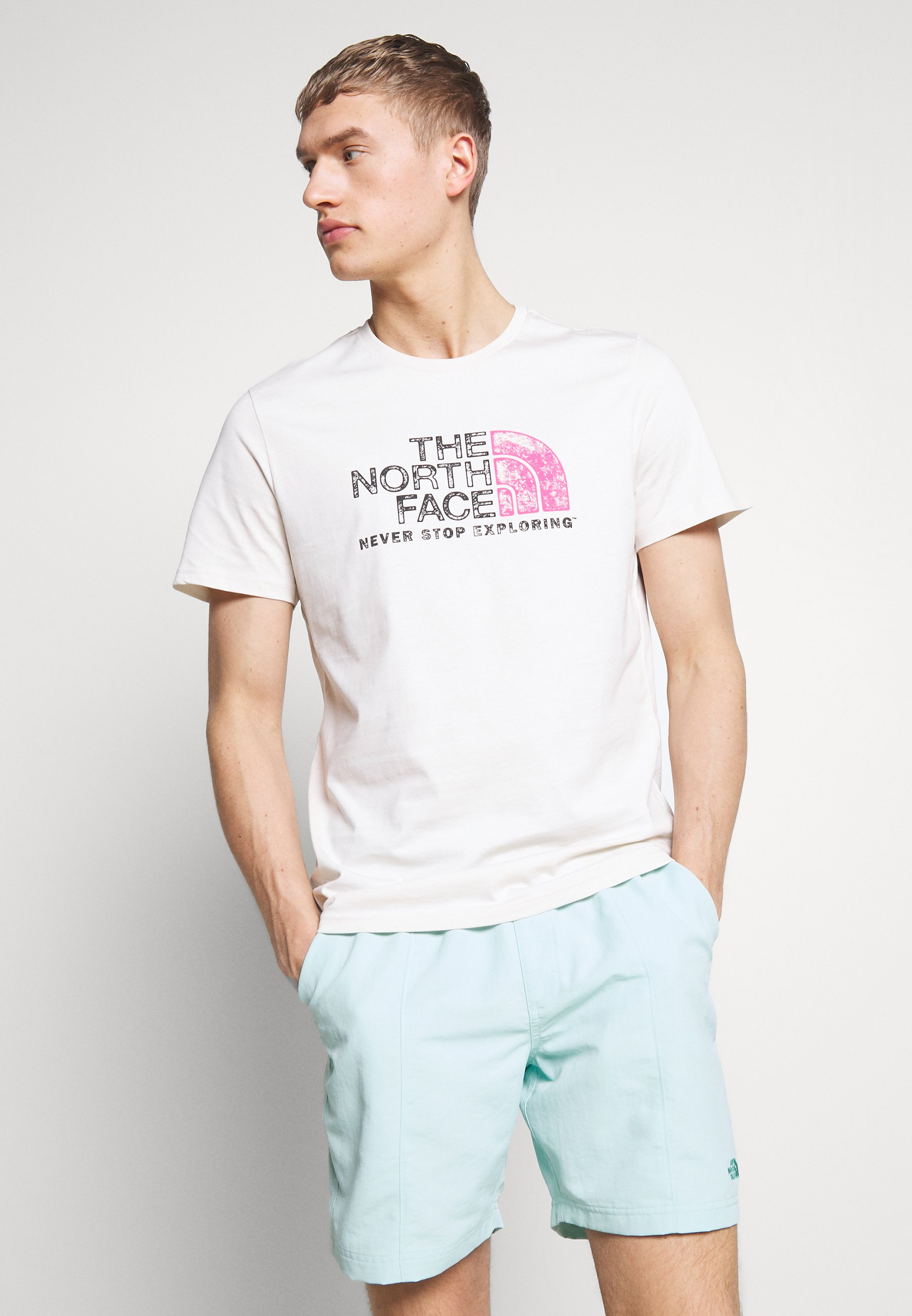 The North Face MEN'S RUST TEE - T-shirt z nadrukiem - vintage white/black