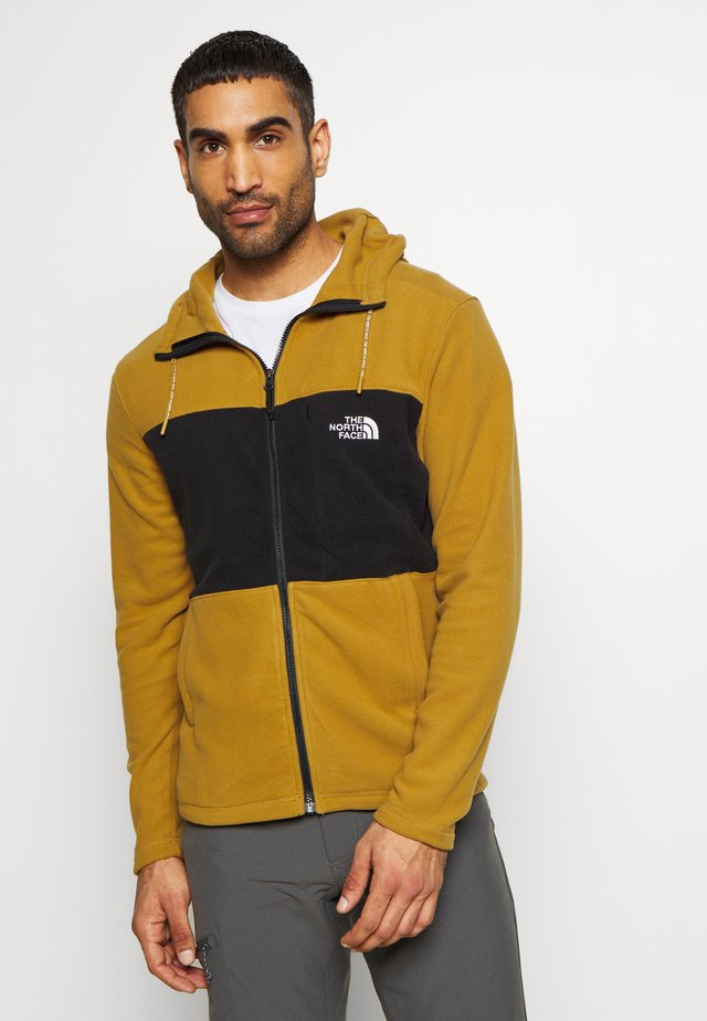 MEN'S BLOCKED HOODIE - Fleecetakki - british khaki/lack