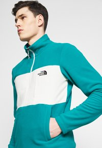 The North Face - MENS BLOCKED ZIP - Fleecová mikina - green/vintage white - 4