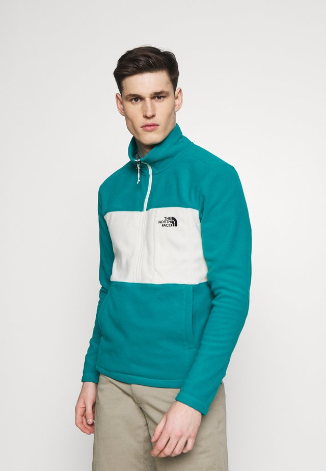 MENS BLOCKED ZIP - Fleece jumper - green/vintage white