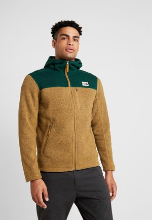 GORDON LYONS HOODIE - Kurtka z polaru - british khaki heather/night green heather