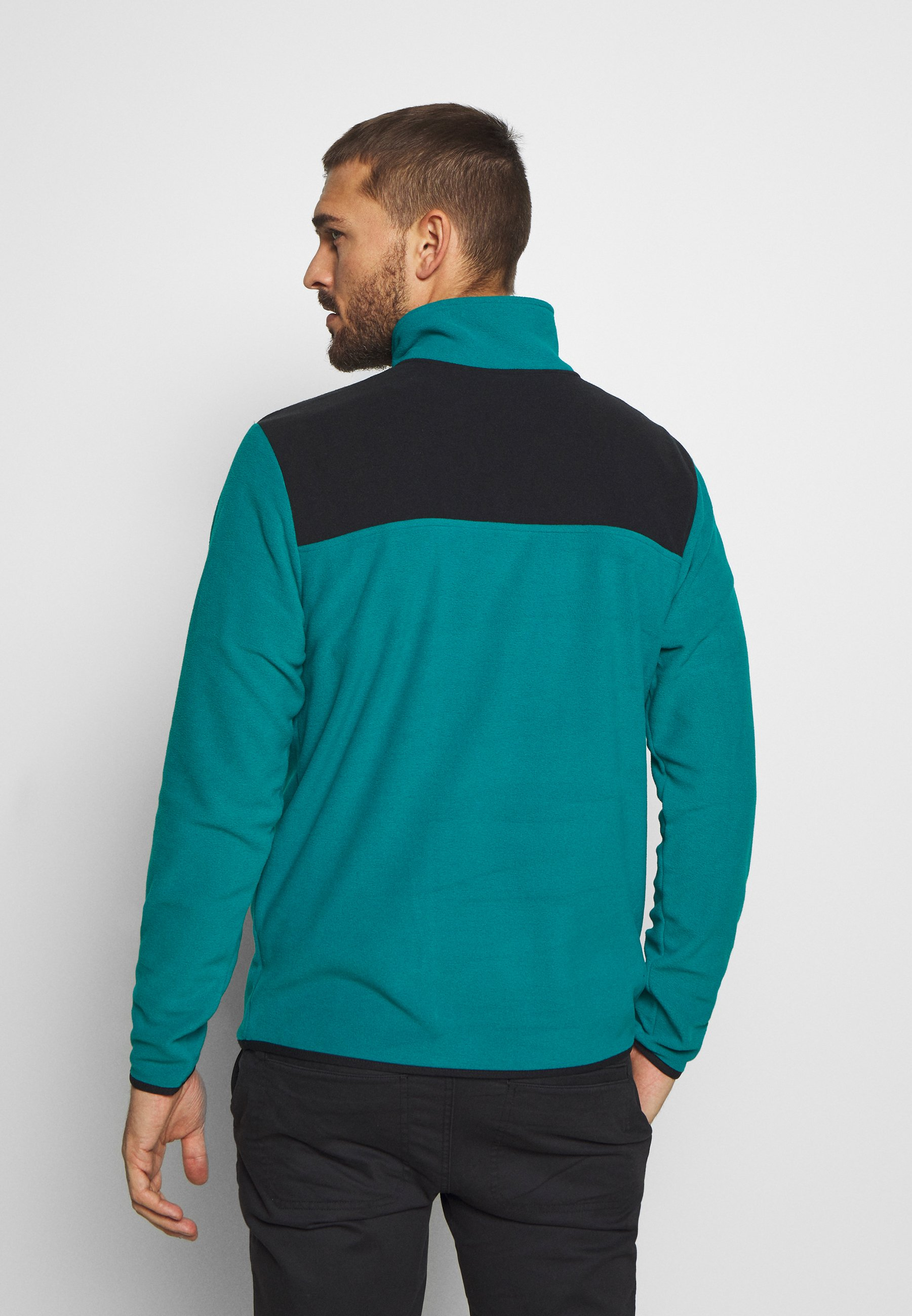 The North Face Mens Glacier Snap Neck - Fleece Jumper Fanfare Green/black