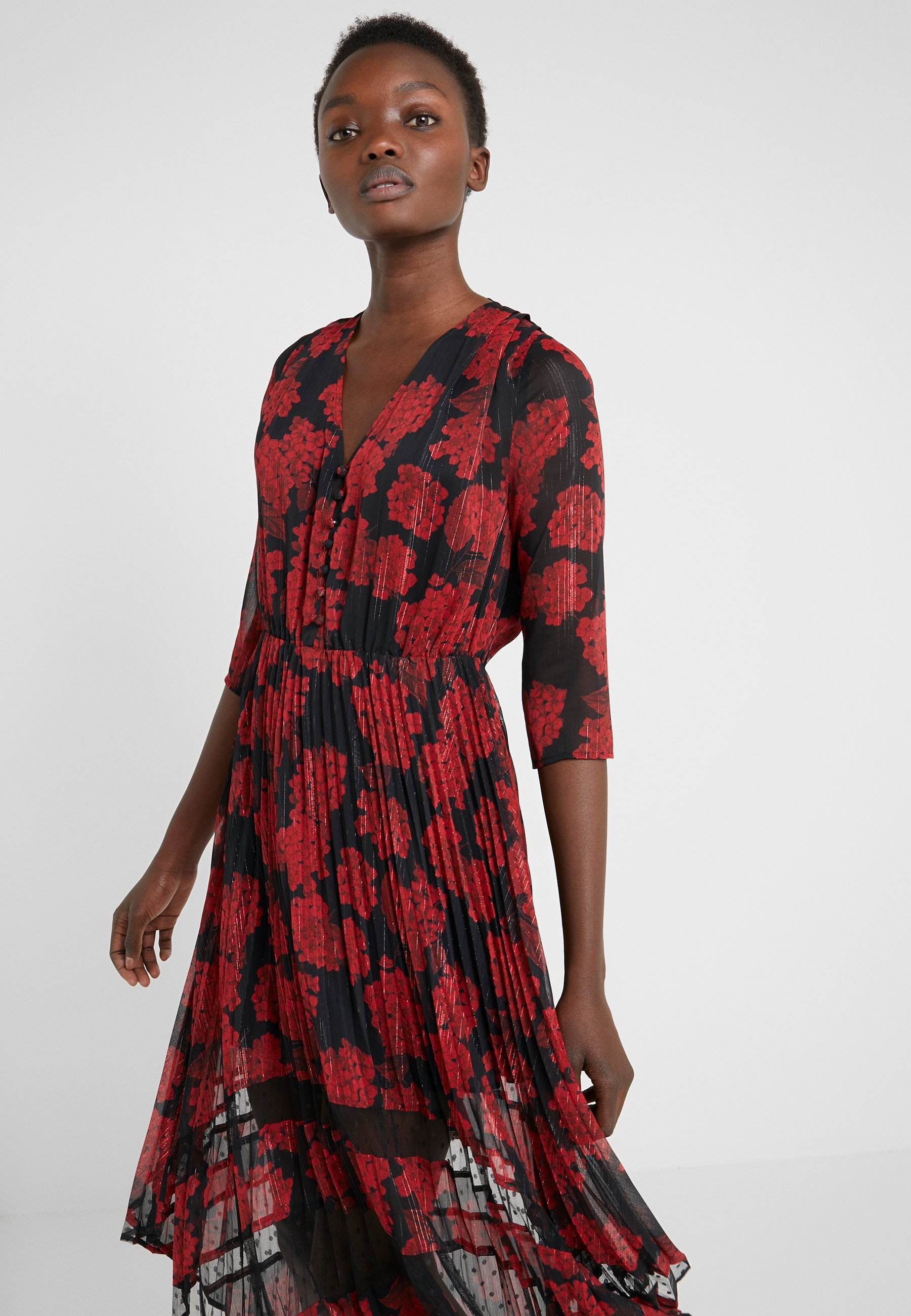 The Kooples Robe Longue - Day Dress Red/black