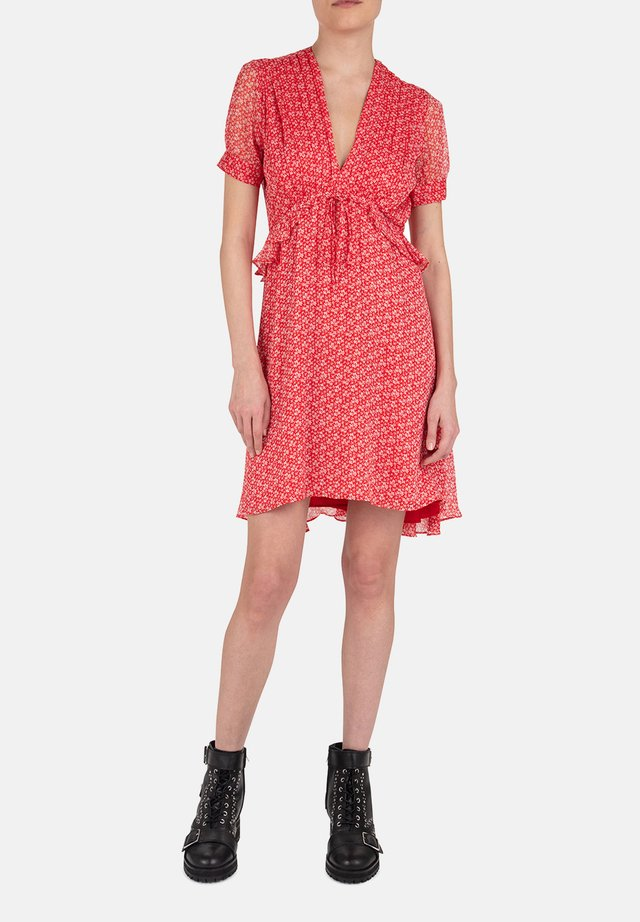 THE KOOPLES ROBE RED SHORT LIGHT DRESS WITH FLORAL PRINT - Day dress - red