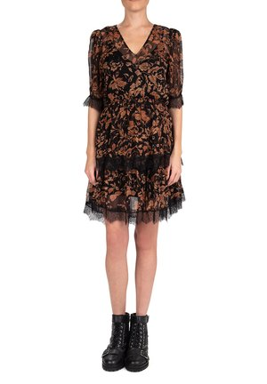 WITH LACE DETAILING - Day dress - black brown