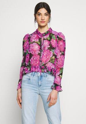 Button-down blouse - black/pink