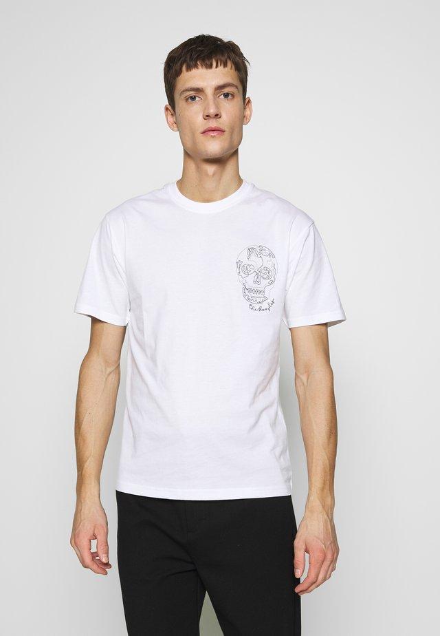 SKULL EMBROIDERY  - T-shirt imprimé - white