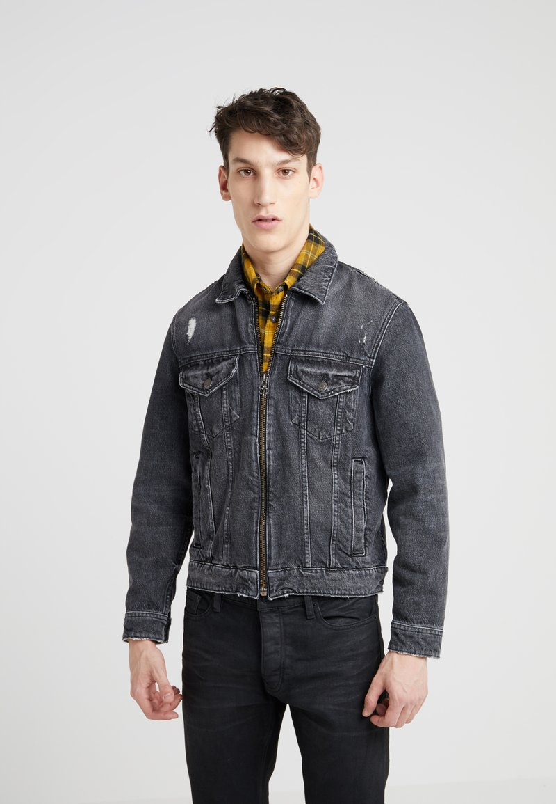 The Kooples - DESTROYED JACKET - Jeansjacke - black denim