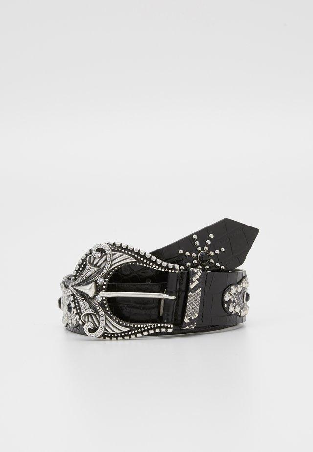 CEINTURE LEZARD AVEC CLOUS - Waist belt - black/white