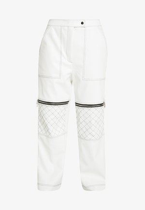 MOTOR PANT WITH CONTRAST STITCH DETAIL - Trousers - white