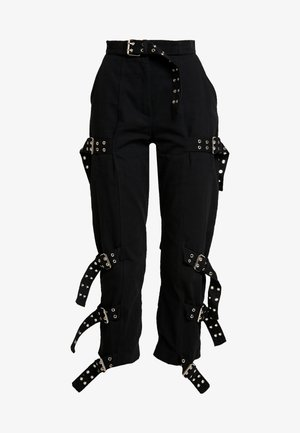 DRILL STRAIGHT LEG TROUSER WITH BUCKLE & EYELET DETAIL - Tygbyxor - black