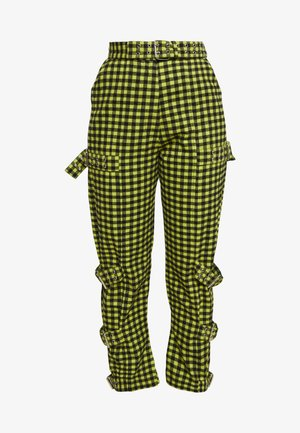 GINGHAM PANTS WITH BUCKLE STRAPS - Tygbyxor - lime/black