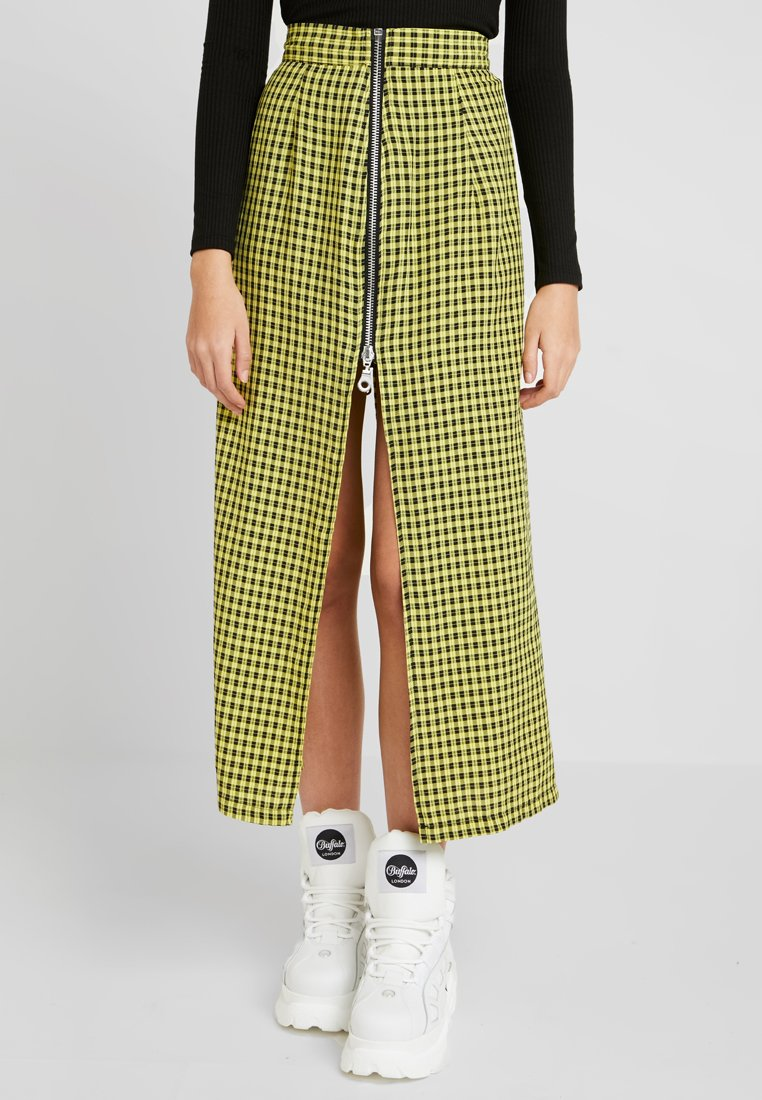 The Ragged Priest - CHECK SIDE SPLIT MIDI SKIRT WITH ZIPS - Jupe longue - black/yellow